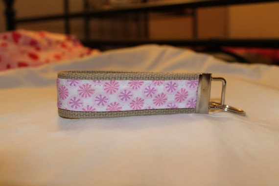 Pink and purple flowered key fob