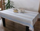 Linen Tablecloth / Striped / Sky Blue / Beige / Milky Coffee Brown Stripes