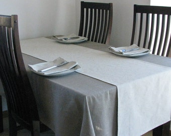 Linen Tablecloth / Natural Darker Lithuanian Linen