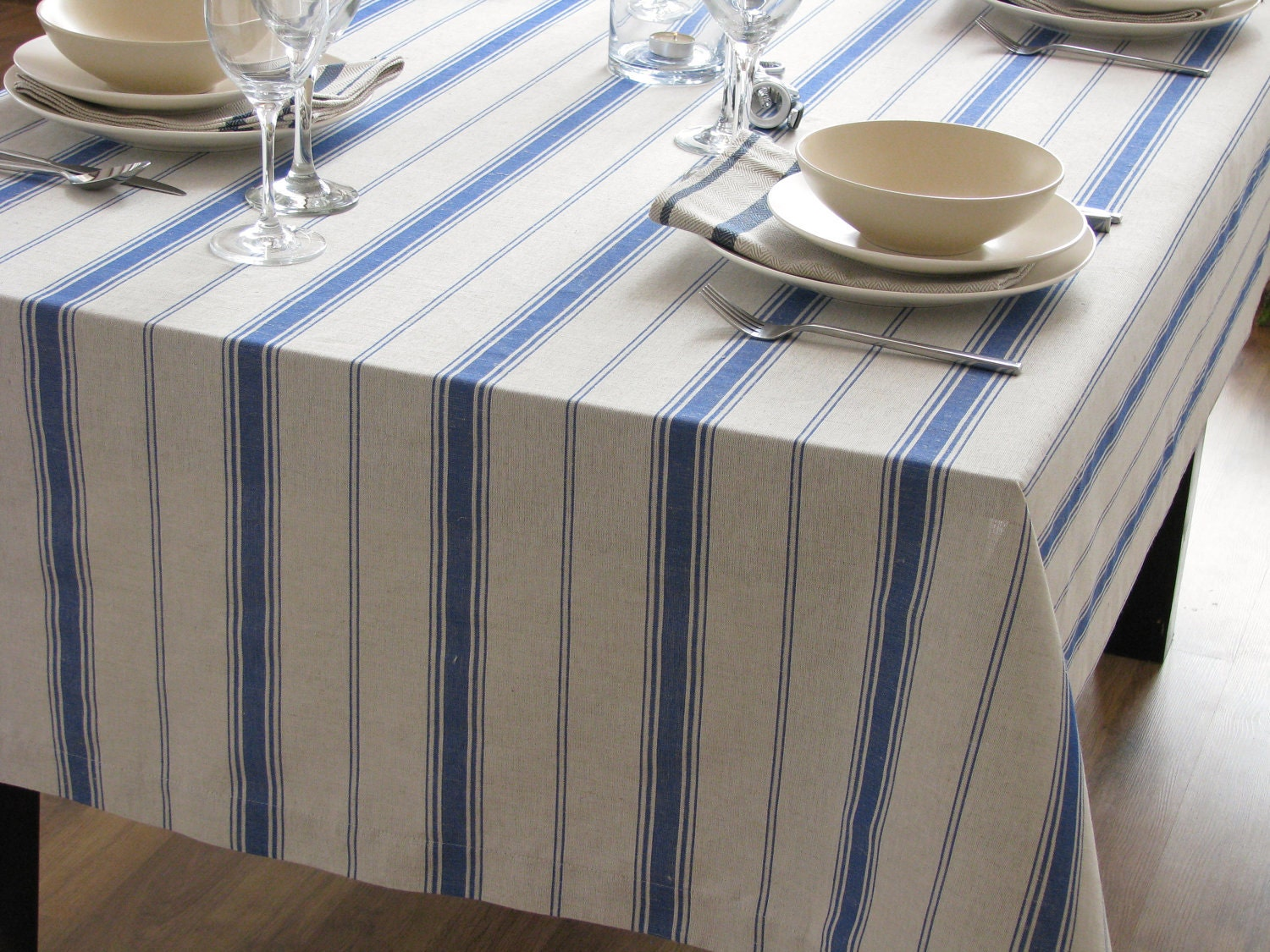 Linen Tablecloth Striped Blue Stripes Country French