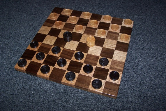 Checkerboard Game - solid Walnut and Red Oak