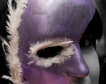 Purple Feathered Mask. OOAK Halloween