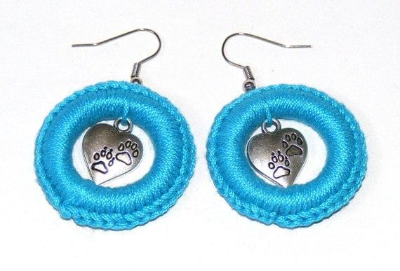A Pair of Bright Blue / Turquoise Pawprint Heart Crochet Hoop Earrings
