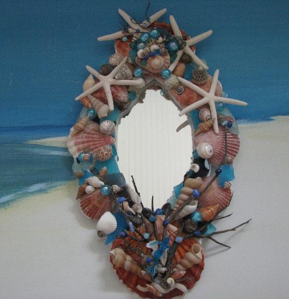 Seashell Mirror-Blue Beach Glass-Starfish-15 inches-Driftwood Sea Fan-Coastal Beach Decor