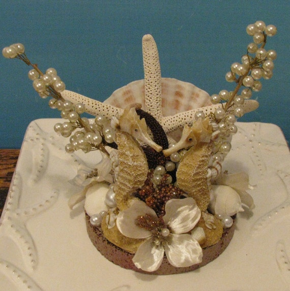 seashell wedding caketopper seahorse wedding cake topper beach. Black Bedroom Furniture Sets. Home Design Ideas