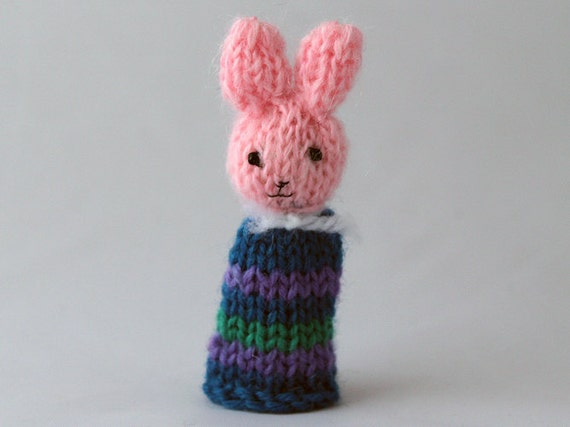 Finger Puppet Knitted Bunny Rabbit Easter Pink Blue purple green stripes