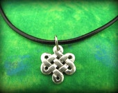 Pretty Silver Celtic Irish Trinity Knot Pendant on Black Leather Cording - Unisex