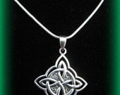 Beautiful Large Sterling Silver Celtic Irish Knot and Cross Necklace