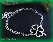Shamrock Celtic Irish Silver Bracelet with Shamrock charm