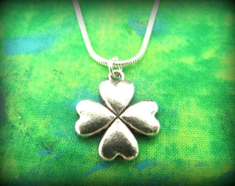 Lovely Silver Celtic Irish Shamrock Necklace with Silver Snake Chain