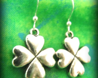 Celtic Irish Silver Shamrock Earrings - Sterling Silver Ear Wire