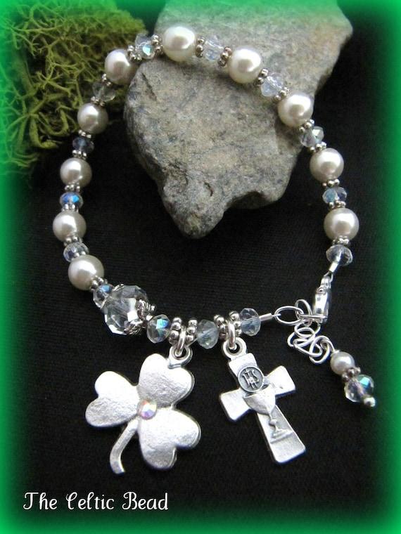 Celtic Irish Pearl & Crystal Communion Shamrock Rosary Bracelet