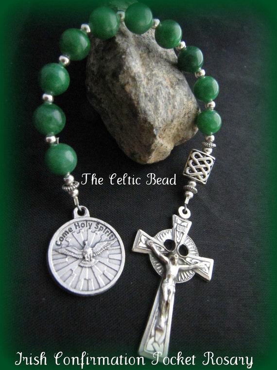 Celtic Irish Confirmation Green Gemstone Pocket Rosary with Holy Spirit Charm