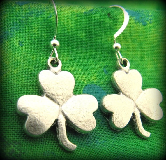 Lovely Silver Celtic Irish Shamrock Earrings on Sterling Silver Wire