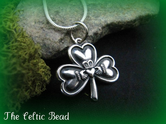Irish Shamrock Claddaugh Silver Pendant Necklace