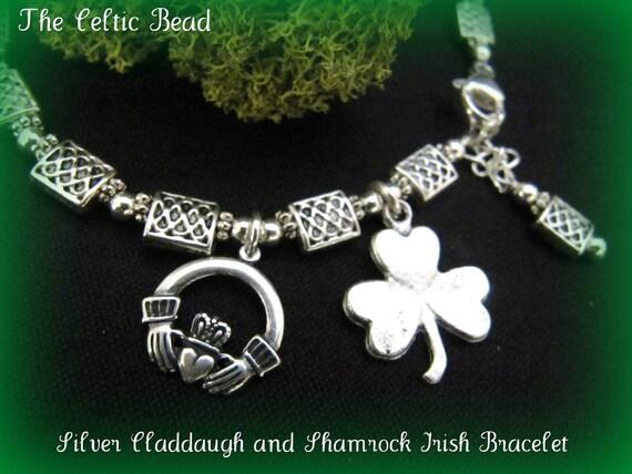 Silver Claddaugh and Shamrock Celtic Irish Knot Bracelet