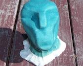 Grumpy Old Man Face or Stern Teacher Turquoise Unique Handmade Ceramic Sculpture