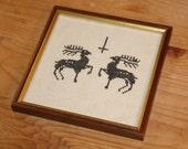 Framed cross stitch- decorative occult symbology