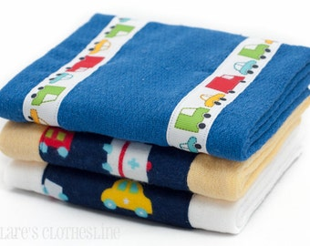 Baby Burp Cloths - Navy and Yellow Cars and Trucks Burp Cloth Set of 3 - READY TO SHIP