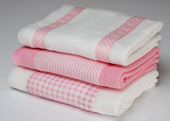 Baby Burp Cloths - Pink Gingham and Stripe Set of 3 - READY TO SHIP