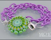 California Girl - Lampwork Bracelet in green, yellow and turquoise on a purple satin fabric chain DESIGN and Beads by MICHOU