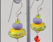Little Pancake Yellow - Handmade lampwork Earrings by Michou