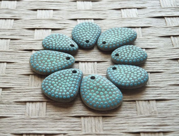 Painted Beach Pebble Beads -Aqua Dots