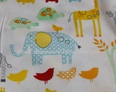 CTAM042 -1 Meter Cotton Fabric - African animal, Elephant, Zebra,Bird,Crocodile,Giraffe - White grounding