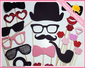 Photobooth Props - 32 Piece Set - ULTIMATE HIS & HER Photo Party Glitter Props On a Stick - Wedding / Birthday Photo Booth