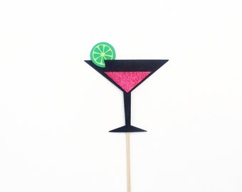 Cosmopolitan Photo Booth Prop with Glitter Photobooth Props On A Stick