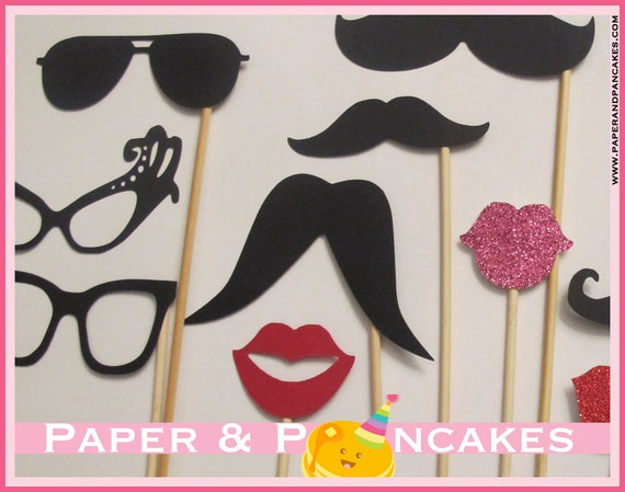 Photo Booth Props Set of 14 includes Lips, Glasses, Talking Bubble, and Mustache on a Stick. Wedding Photo Props. Chalkboard Talking Bubble