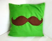 Green Pillow Cover with Brown Mustache - Decorative Cushion for the Home