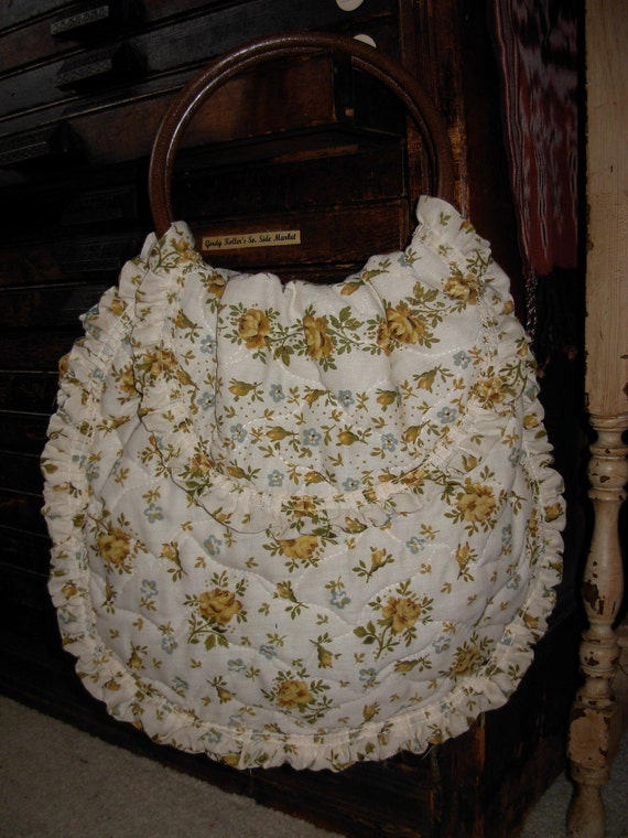 Vintage retro 60 s 70s Boho Hippie Shabby Chic Floral Ruffle Romantic Bag Purse