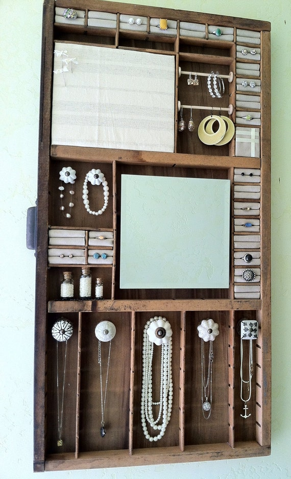 Jewelry Organizer Made From A Wood Antique Printing Tray