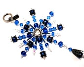 """Star of Dreams Ornament is 6"""" x 4"""" and handcrafted with a Silver heart center, small Swarovski crystals and Blue crystals"""