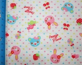 DW002- 1 MeterJapanese Cotton Fabric - Cute Bears And Rabbits - Candy - Strawberry On Creamy White