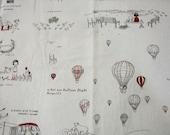 RW087A  - 1 Yard Linen Cotton Fabric - Cartoon Character, Little Girls, A Picnic with Friends, A Red Fire Balloon Flight  - Nature ( NO322A)
