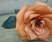 1 Hand Painted Burnt Orange Paper Rose