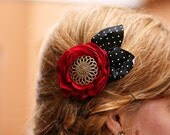 Red and Black Hair Accessory or Brooch