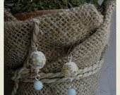 Garden Party: Botanical Porcelain and Shimmering, Powder Blue Sterling Silver Earrings