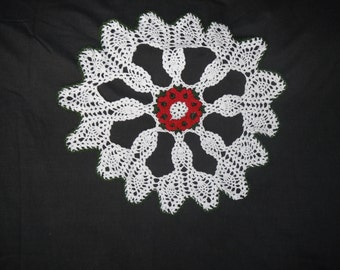 Red Rose Doily