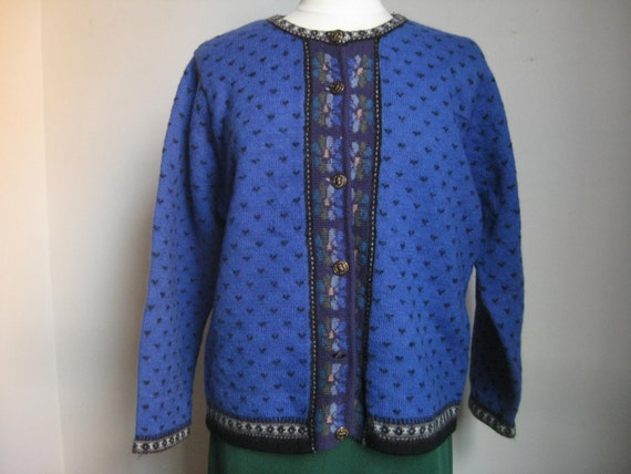 Sweater Royal Blue Pure Wool Large