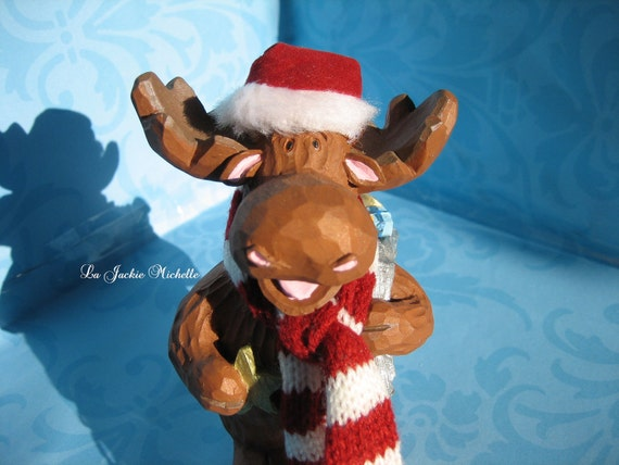 Hand Painted Resin Winter/Christmas Moose