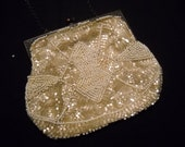 Vintage French White-Cream Beaded Purse