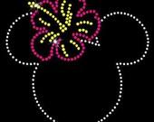 Hawaiian Minnie Mouse Rhinestone Transfer DIY Disney Handmade Bling Hibiscus Flower