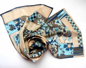 Hand painted floral silk scarf with chess ornaments . Made to order.