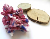 Hand painted silk scrunchie Red, pink, blue colors painted silk scrunchie. Ready to ship. Free worldwide shipping.