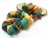 A pair of hand painted silk Scrunchie. Green, yellow, orange.Ready to Ship.Free shipping.Gift under 20.