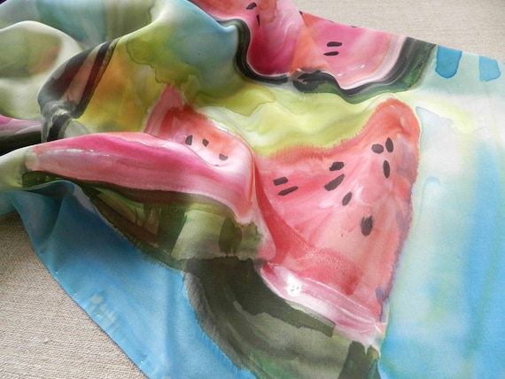 Hand painted silk shawl.Green and red taste of summer.Made to order. Size 27.5 inch / 27.5 inch