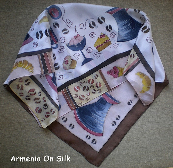Funny silk scarf with  coffee beans and sweets . Hand painted scarf. Made to order